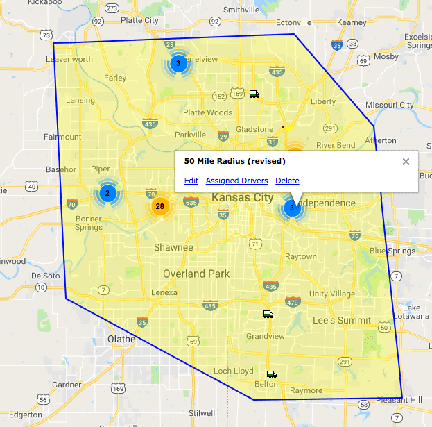 Geofence boundary for fleet management