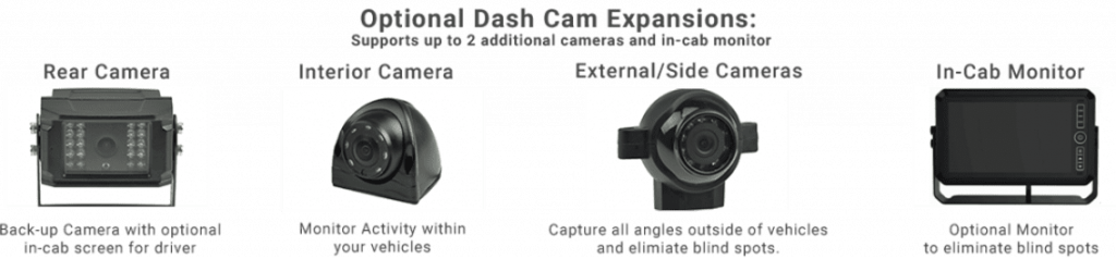 Wireless fleet dashcam solution expansions- dual facing, interior, rear and in-cab monitor