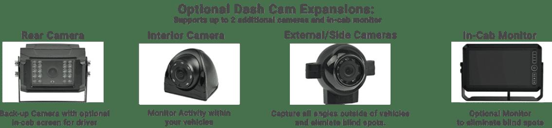 wireless fleet dual dashcam - interior exterior rear truck dashcams